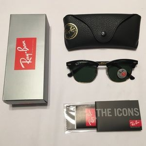 Ray Ban Clubmaster Polarized Gold and Black